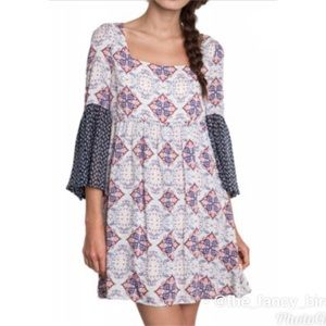 Umgee Empire Waist Boho Bell Sleeve Dress Size S